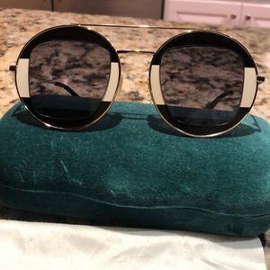 Gucci Round Sunglasses GG0105S Black Cream Gold